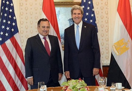 Egypt's Foreign Minister Fahmy meets with U.S. Secretary of State John Kerry in New York, September 22, 2013