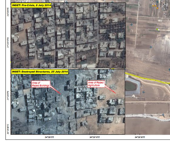 Shajaiyah, July 6, 2014 (above) and July 25, 2014 (below)