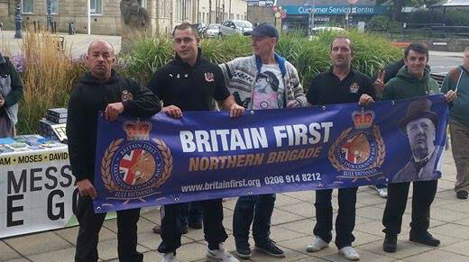 A photo of anti-Muslim protesters in Dewsbury which includes a man resembling Thomas Mair was posted on the Britain First Facebook page in October 2015. The man's identity has yet to be established.